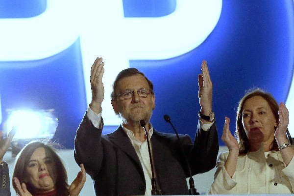 Mariano Rajoy, se dirige a sus simpatizantes.