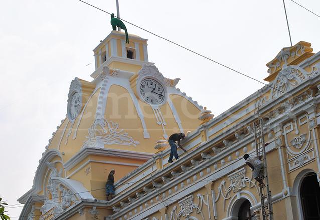Proceso de restauración del Palacio de Retalhuleu. (Foto: Hemeroteca PL)