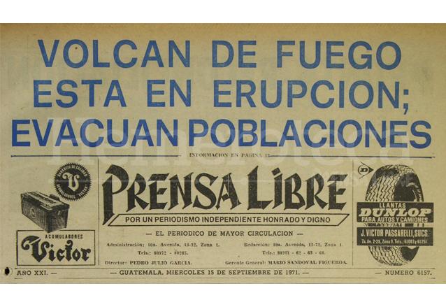 Titular de Prensa Libre del 15/09/1971. (Foto: Hemeroteca PL)
