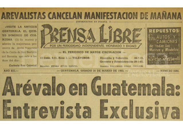 Titular de Prensa Libre del 30/03/1963. (Foto: Hemeroteca PL)