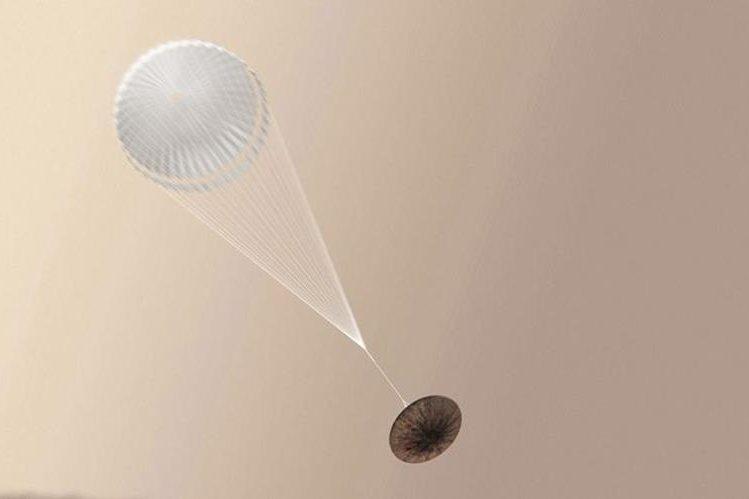 Ilustración artística del módulo Schiaparelli en su descenso a Marte. (Foto Prensa Libre: EFE)