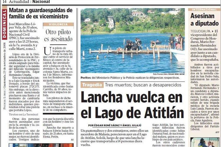 El 23 de noviembre del 2008, una lancha volcó en el Lago de Atitlán. (Foto Hemeroteca PL)