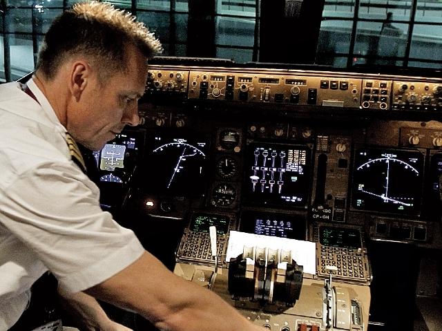 Cabina del avión de Wamos procedente de Madrid.