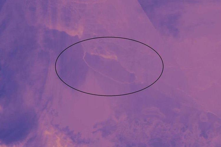 Imagen de satélite que muestra el tamaña del bloque de hielo. (Foto Prensa Libre: EFE)