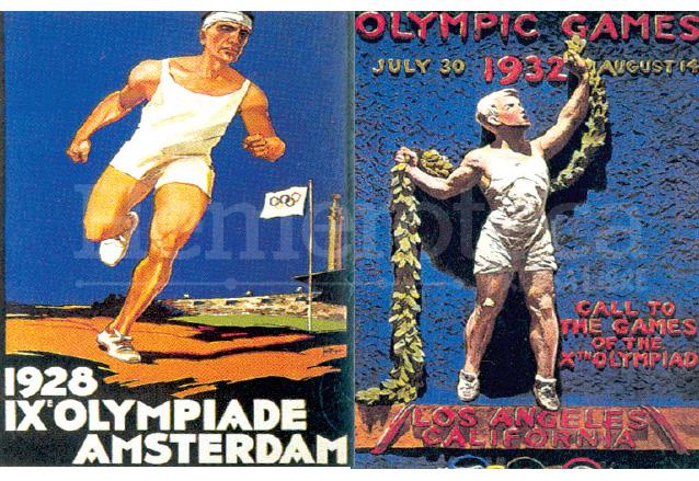 Afiches de los Juegos Olímpicos de Amsterdam 1928 y Los Ángeles 1932. (Foto: Hemeroteca PL)
