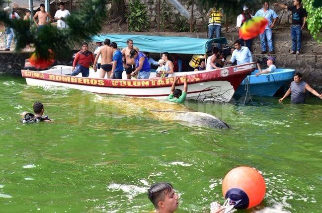 Bomberos auxilian a las personas que cayeron al Lago por el vuelco de la lancha. (Foto Prensa Libre: William Santos)