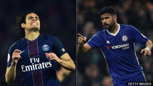 Tianjin Quanjian asegura que retiró dos ofertas por el uruguayo Edinson Cavani y Diego Costa debido al nuevo impuesto para la compra de jugadores extranjeros. (Foto Prensa Libre: BBC Mundo)