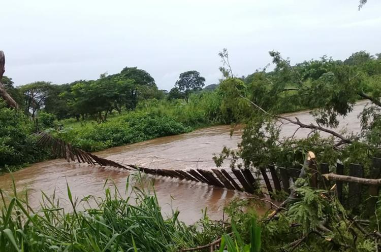 Puente de hamaca destruido por un árbol en Moyuta. (Foto Prensa Libre: Conred).