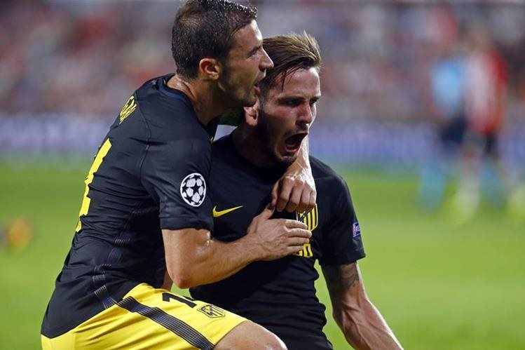 Así festejaron los jugadores del Atleti el gol del triunfo. (Foto Prensa Libre: Twitter Atlético de Madrid)