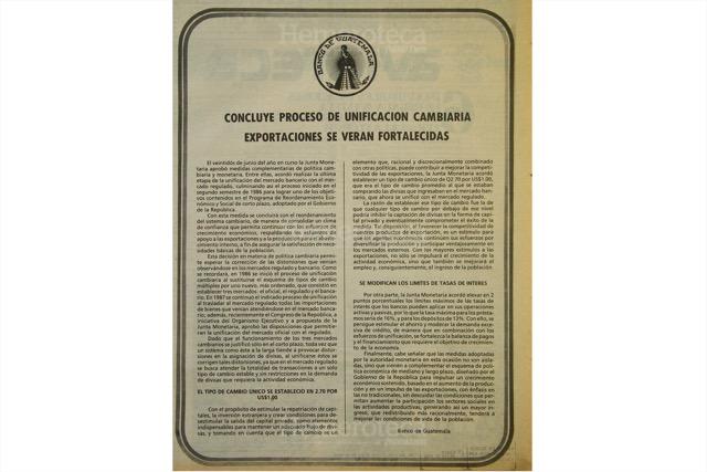 Boletín del Banco de Guatemala del 28 de junio de 1988, con el precio del dólar -tres quetzales por un dólar-. (Foto: Hemeroteca PL)