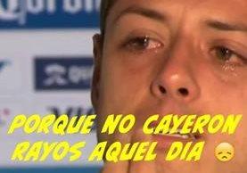 La imagen de Javier Chicharito Hernández con lágrimas en los ojos fue la más compartida. (Foto Prensa Libre: Twitter)
