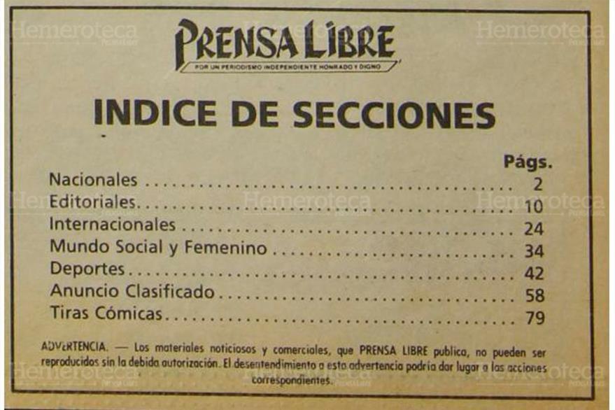 Así era el índice de Prensa Libre en marzo de 1983. (Foto: Hemeroteca PL)