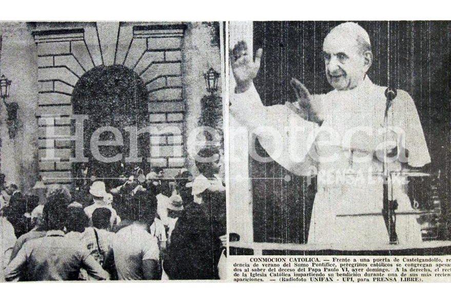 Feligreses se congregaron afuera del Palacio de Castelgandolfo al momento de conocerse la noticia del fallecimiento de Paulo VI, en la otra fotografía, el Pontífice en vida. (Foto: Hemeroteca PL)