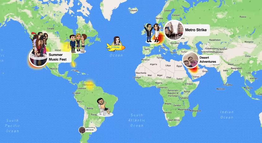 La herramienta busca ubicar a las historias desde su lugar de origen en el mundo (Foto Prensa Libre: Snapchat).