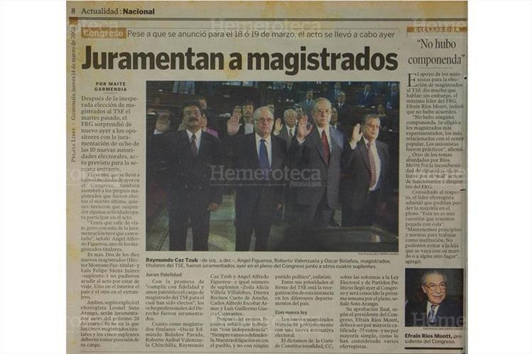 14/3/2002 Raymundo Caz, Ángel Figueroa, Roberto Valenzuela y Óscar Bolaños. (Foto: Hemeroteca PL)