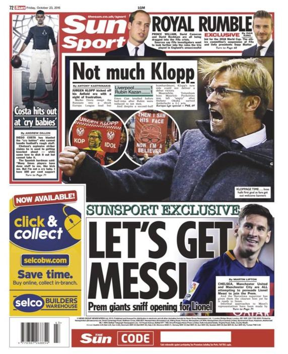 Está es la portada impresa del diario The Sun. (Foto Prensa Libre: The Sun)