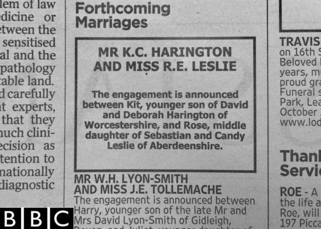 Harington y Leslie anunciaron su matrimonio a través de un periódico.