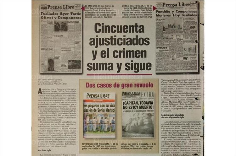 Prensa Libre publicó el 11/02/1998 un especial sobre los cincuenta sentenciados a la pena capital por medio del fusilamiento. (Foto: Hemeroteca PL)