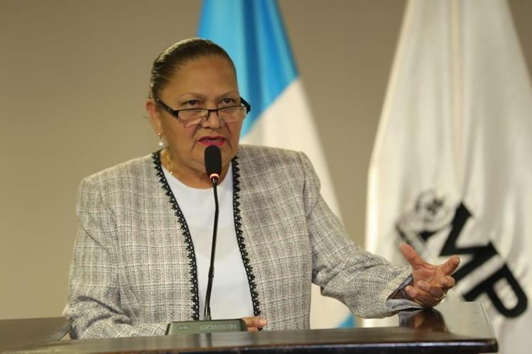 La fiscal general María Consuelo Porras en su primera actividad pública al frente del MP. (Foto Prensa Libre: Estuardo Paredes)