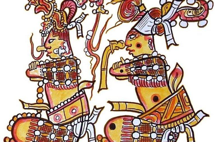 Los héroes gemelos Huhnapú e Ixbalanqué. Dibujo realizado con base en la decoración de una antigua pieza cerámica maya. (Foto Prensa Libre, tomada de squitel.blogspot.com)