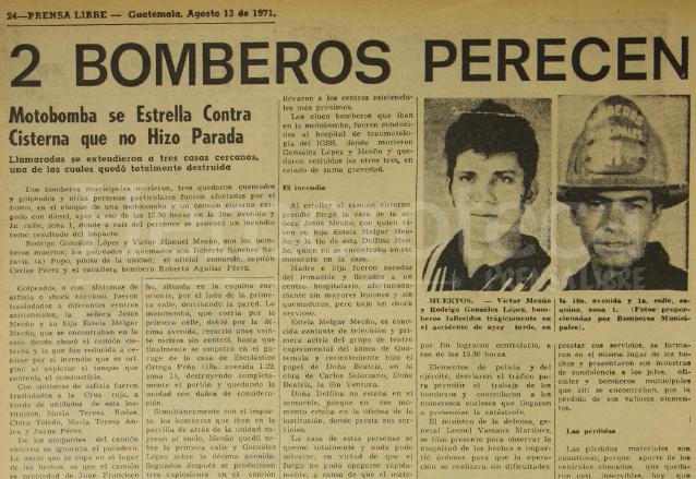 Nota informativa sobre el accidente en el que perdieron la vida dos bomberos el 13 de agosto de 1971. Inserto los fallecidos. (Foto: Hemeroteca PL)