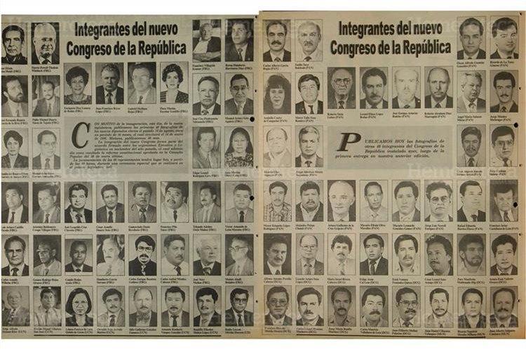 Prensa Libre publicó el 13/9/1994 las fotografías  de los 80 nuevos diputados para un periodo de 16 meses electos por medio de la consulta popular. (Foto: Hemeroteca PL)