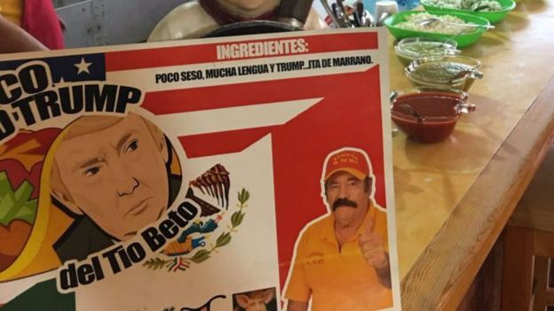 Cartel para anunciar el taco Donald Trump hecho en México. CORTESÍA: HUMBERTO ERIVES