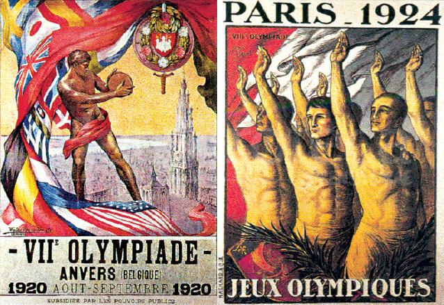 Afiches de los Juegos Olímpicos de Amberes 1920 y París 1924. (Foto: Hemeroteca PL)