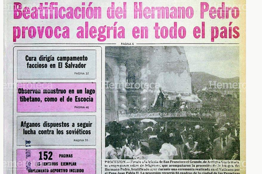 Portada de Prensa Libre del 23 de junio de 1980 que registra la beatificación del Hermano Pedro. (Foto: Hemeroteca PL)