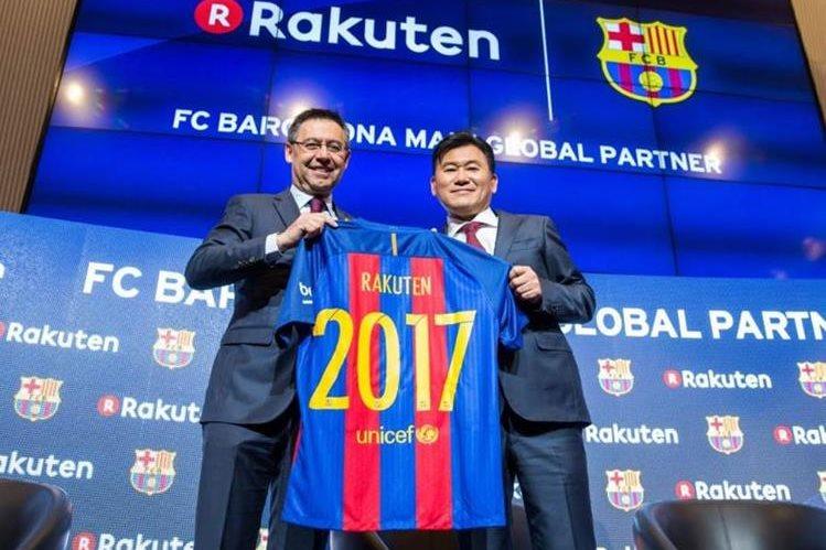 El grupo japonés de comercio en línea Rakuten, nuevo patrocinador principal del equipo azulgrana. (Foto Barcelona)