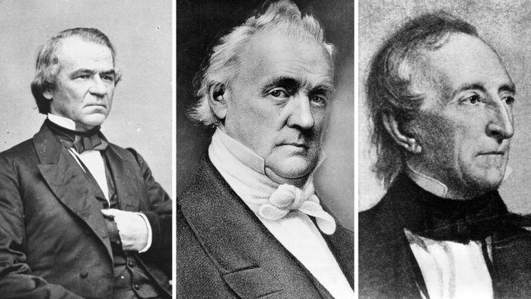 De izquierda a derecha: Andrew Johnson, James Buchanan y John Tyler, presidentes de mediados del siglo XIX. GETTY IMAGES