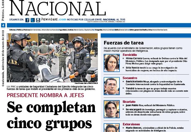 Nota del 25 de enero de 2012 dando a conocer las fuerzas de tarea contra el Femicidio y el Secuestro. (Foto: Hemeroteca PL)