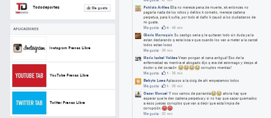 Guatemaltecos se expresan en las Redes Sociales por orden de captura de Roxana Baldetti (Foto Prensa Libre: Facebook)