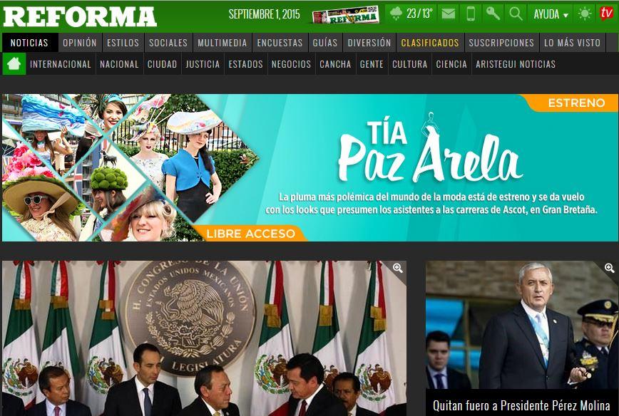 Periódico Reforma de México y la noticia histórica de Guatemala.