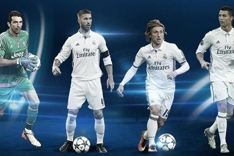 Gianluigi Buffon, Sergio Ramos, Luka Modric y Cristiano Ronaldo fueron reconocidos por su buena temporada en la Champions League. (Foto Prensa Libre: Uefa)