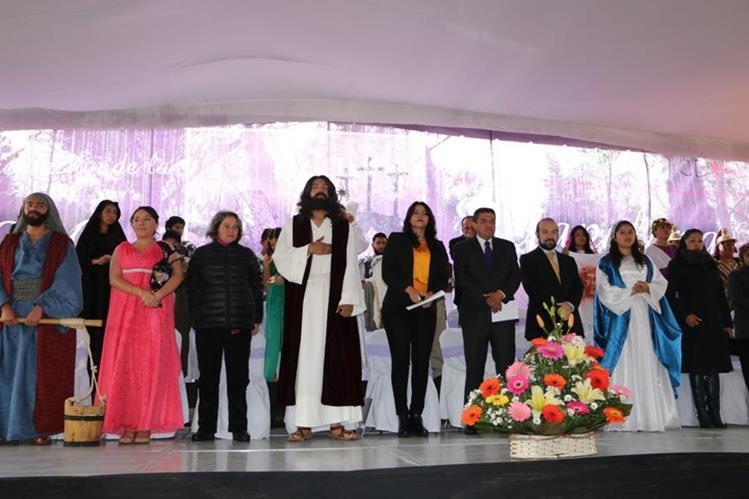 Protagonistas para la 173 representación de la Semana Santa en Iztapalapa, México.