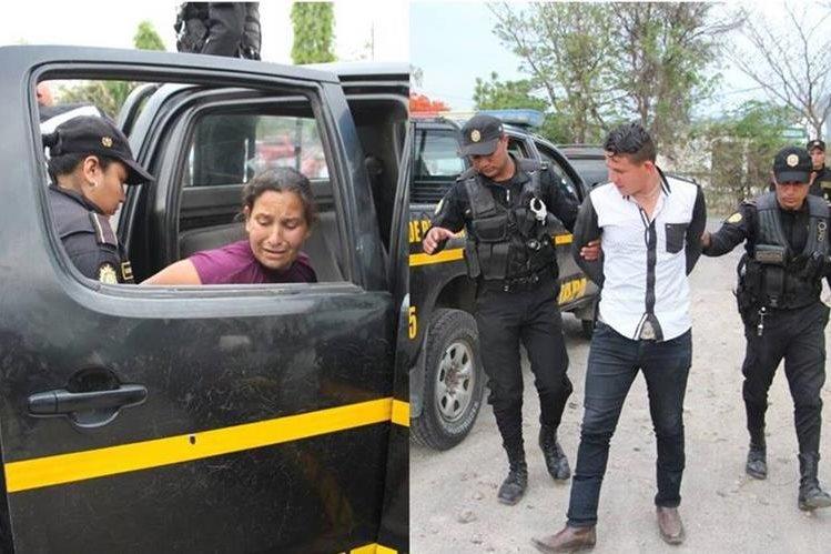 Agentes de la PNC en Jutiapa trasladan a un juzgado a un hombre y su madre. (Foto Prensa Libre: PNC)