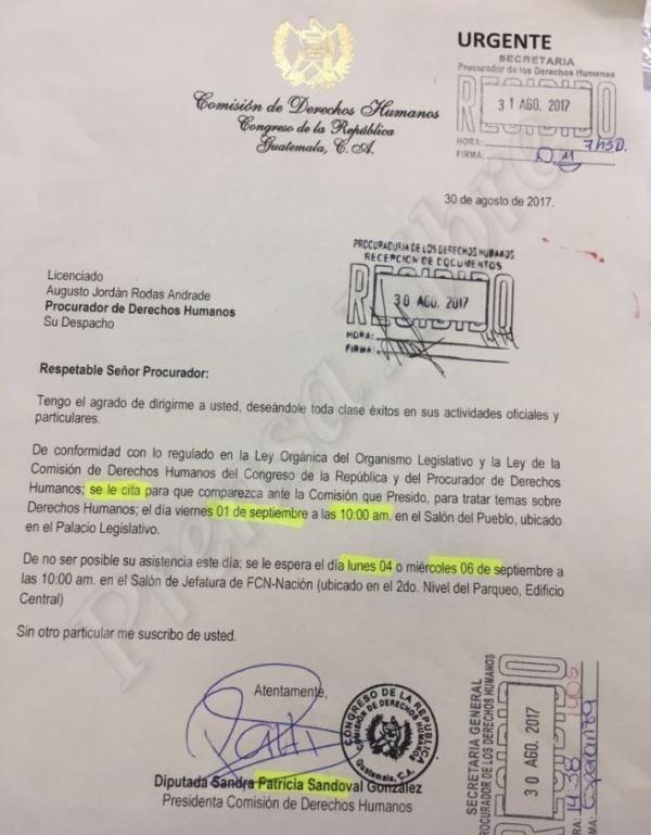 Carta en que la diputada Patricia Sandoval cita al procurador Jordán Rodas. (Foto Prensa Libre: Jessica Gramajo).