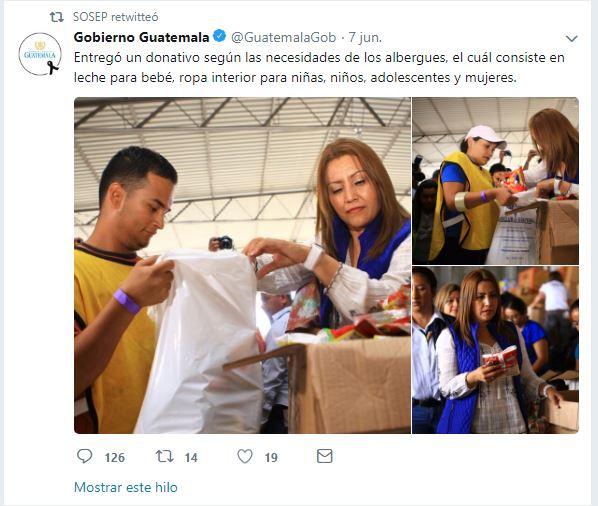 Esta fue la publicación del Gobierno que despertó las críticas hacia la primera dama. (Foto Prensa Libre: Twitter)