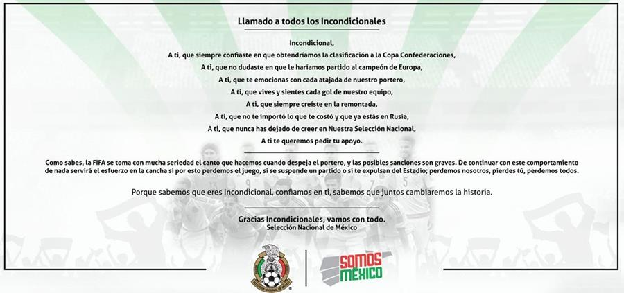Este es el comunicado que envió la Federación Mexicana de Futbol. (Foto Prensa Libre: Twitter)