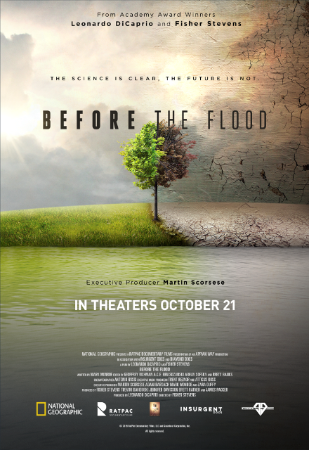 Afiche del documental Before the Flood, sobre el cambio climático. (Foto: Hemeroteca PL).