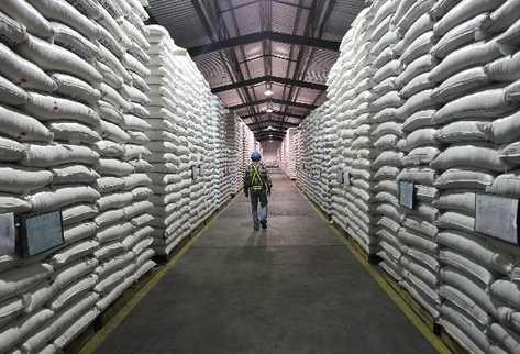 miles de sacos con maíz y frijol se encuentran  en las bodegas de Indeca, ubicadas en el kilómetro 16.5 carretera a El Salvador, lugar que fue visitado ayer por Prensa Libre.