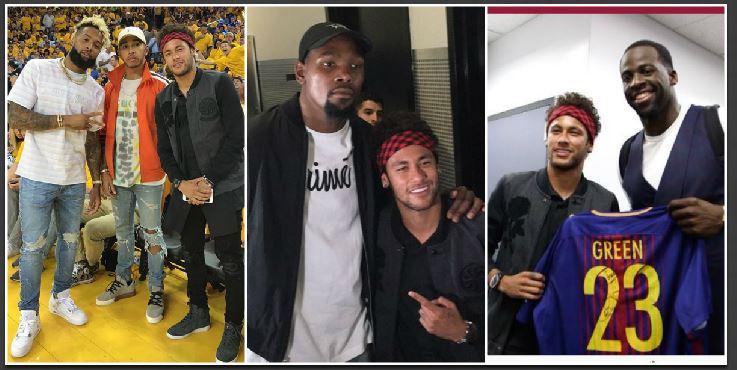 La presencia de Neymar en el segundo juego de la NBA no paso por alto. (Foto Prensa Libre: Twitter)