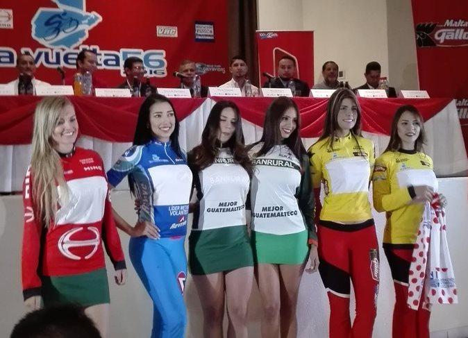 En la presentación se mostraron los suéteres oficiales de la Vuelta. (Foto Prensa Libre: Carlos Vicente)