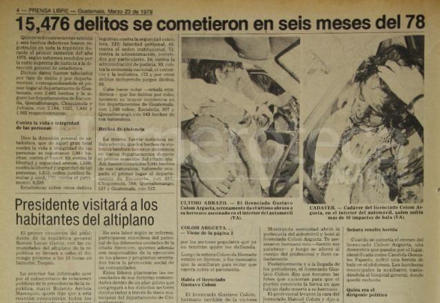 Nota periodística informando sobre el asesinato del licenciado Manuel Colom Argueta. (Foto: Hemeroteca PL)