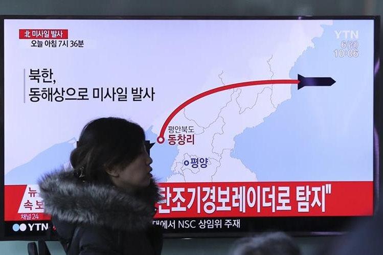 Prueba de misiles en Corea del Norte. (Foto Prensa Libre: AP)