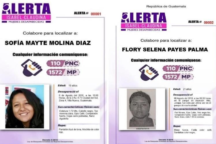 Sofía Mayte Molina Díaz y Flory Selena Payes Palma son los nombres con los que se generan las dos primeras alertas Isabel-Claudina. (Foto Prensa Libre: Twitter).