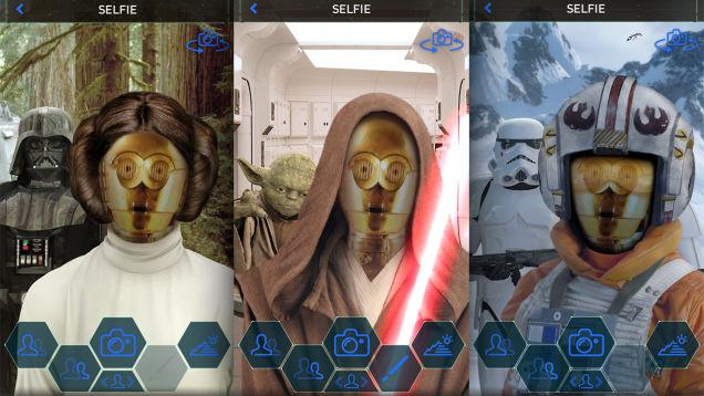 La función de selfies permite ponerle el rostro del usuario a diferentes personajes. (Foto Prensa Libre Gizmodo).
