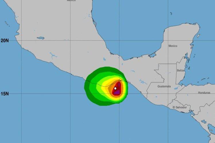 Ubicación de la tormenta tropical Calvin en el Pacífico mexicano. (CNH).