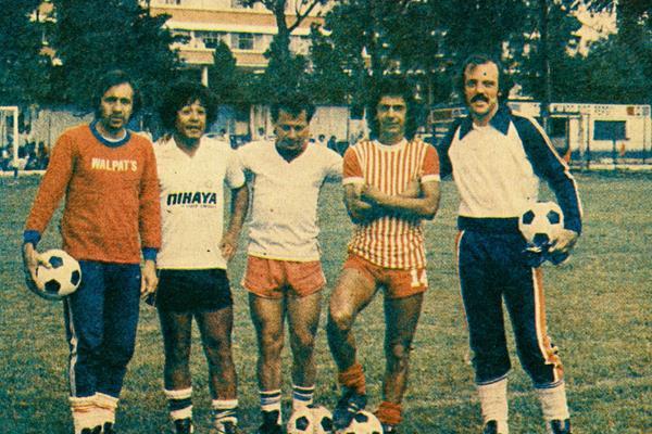 Ramon Ramírez, Óscar Sánchez, Félix Mcdonald, Sergio Rivera y Ricardo Piccinini en su época de jugadores. (Foto Prensa Libre: Hemeroteca PL)